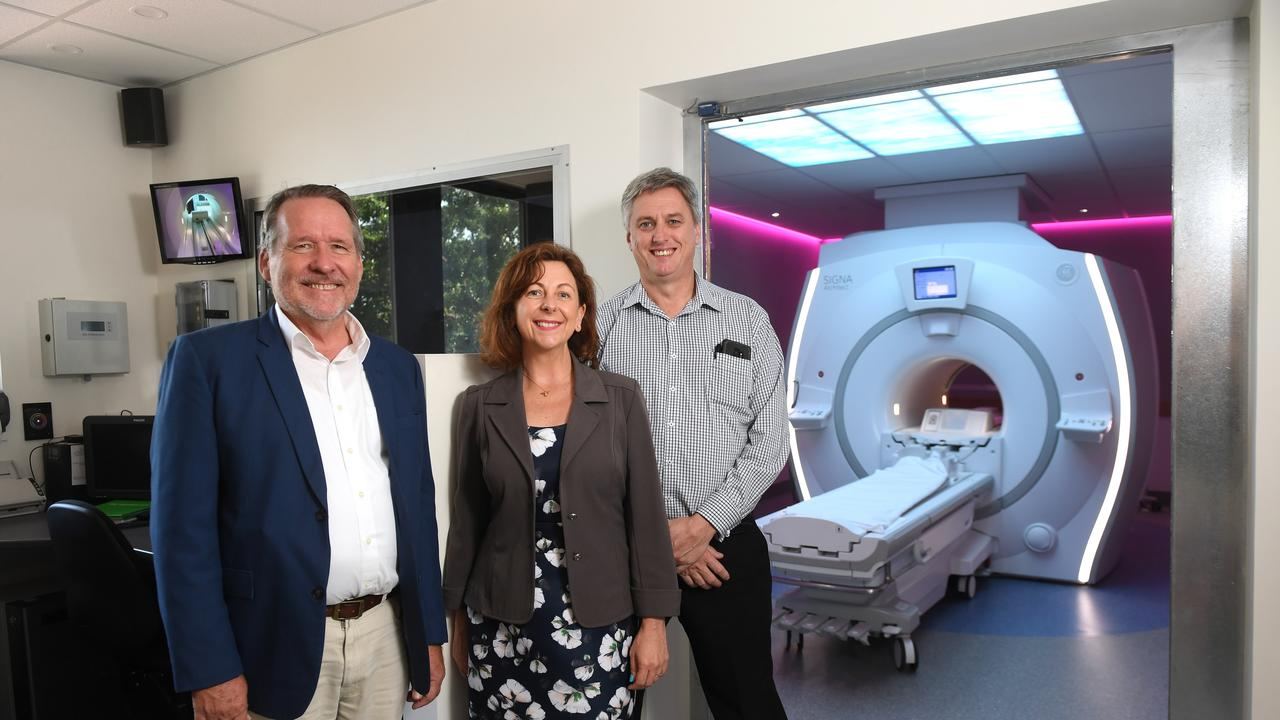 Jim Madden MP, Jennifer Howard MP and the Ipswich Hospital director of medical imaging James Abbott with the new MRI machine at the Medical Imaging Centre at the Ipswich Hospital.