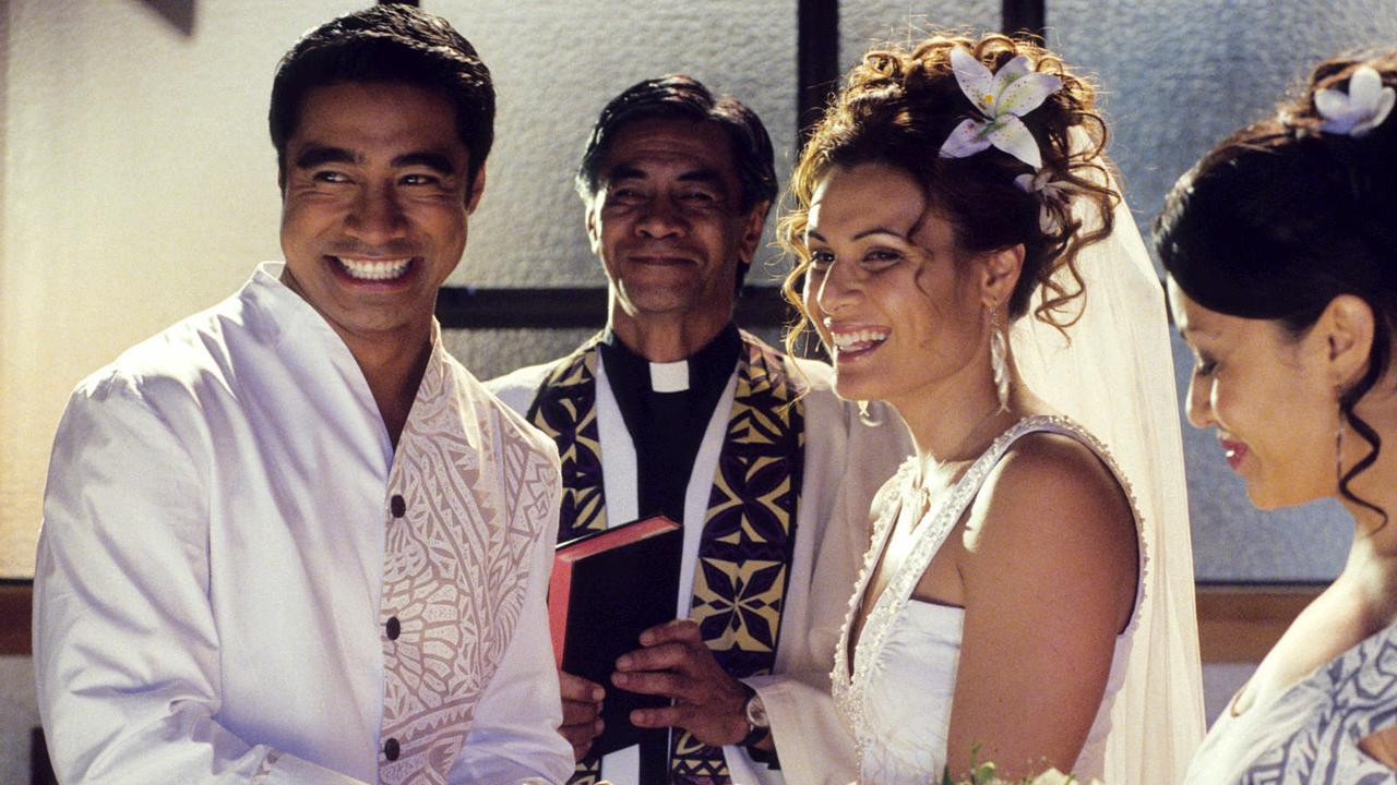 Pua Magasiva with Nathaniel Lees, Cilla Brown and Teuila Blakely in scene from the film Sione's Wedding.