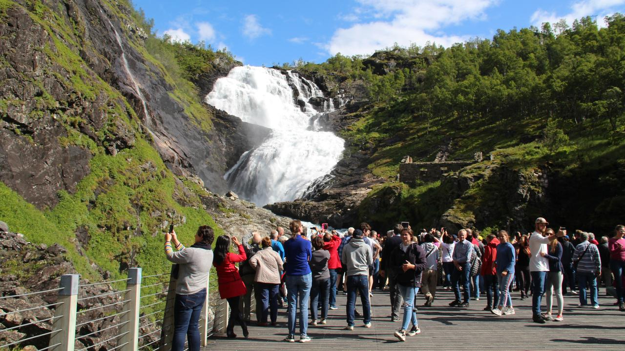 The train crowd at the Kjosfossen waterfall. Picture: Shirley Sinclair
