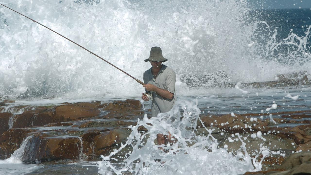 Generic photo of a rock fisherman at Avoca beach on the Central Coast. Two men drowned while fishing on the rocks at Avoca beach on 06/02/2006.
