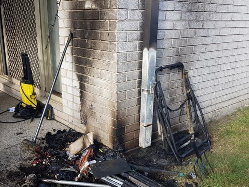 Karen Denduck has revealed how a set of solar-powered Christmas lights exploded in the heat and left an outside wall badly burnt.