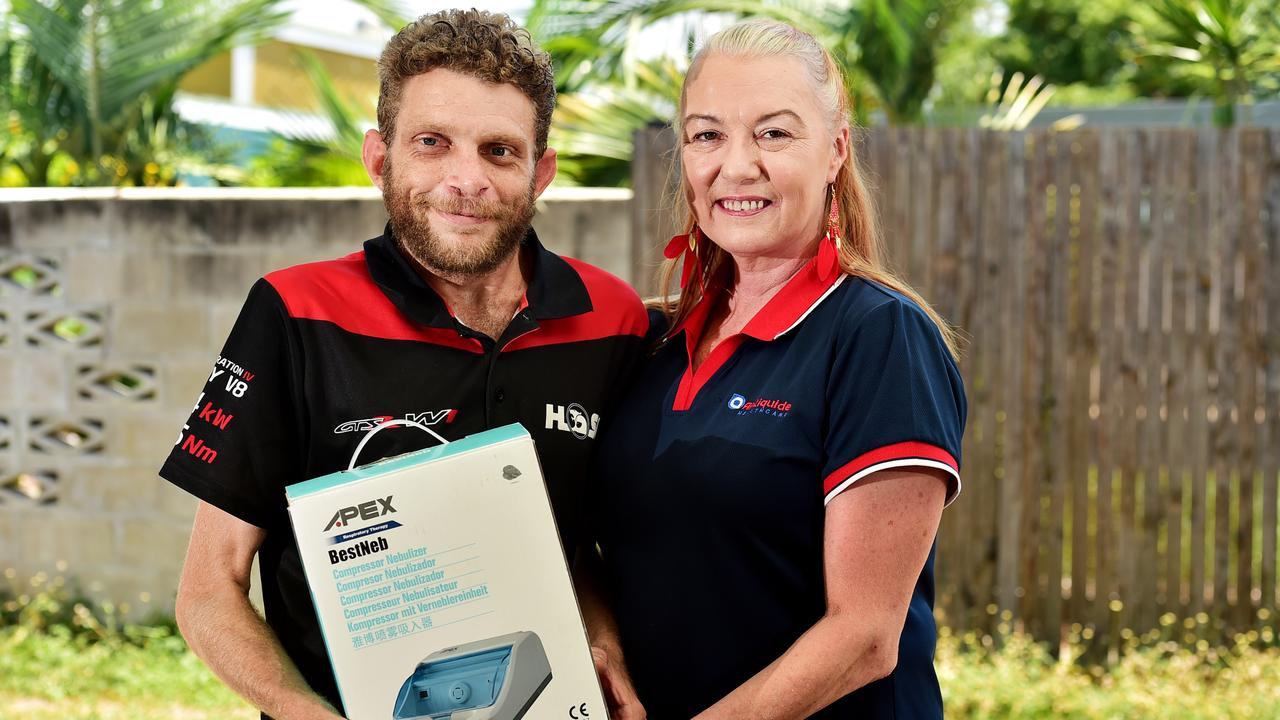 Garbutt resident Phillip Coughran, 37, was at hospital when a group of thieves tore through his Crowder St unit last week, stealing his nebuliser and $2700 that was being saved for a car. Air Liquide Healthcare owner Sandy Breen gave Mr Coughran a new nebuliser worth nearly $300 after hearing he had been a victim of crime.
