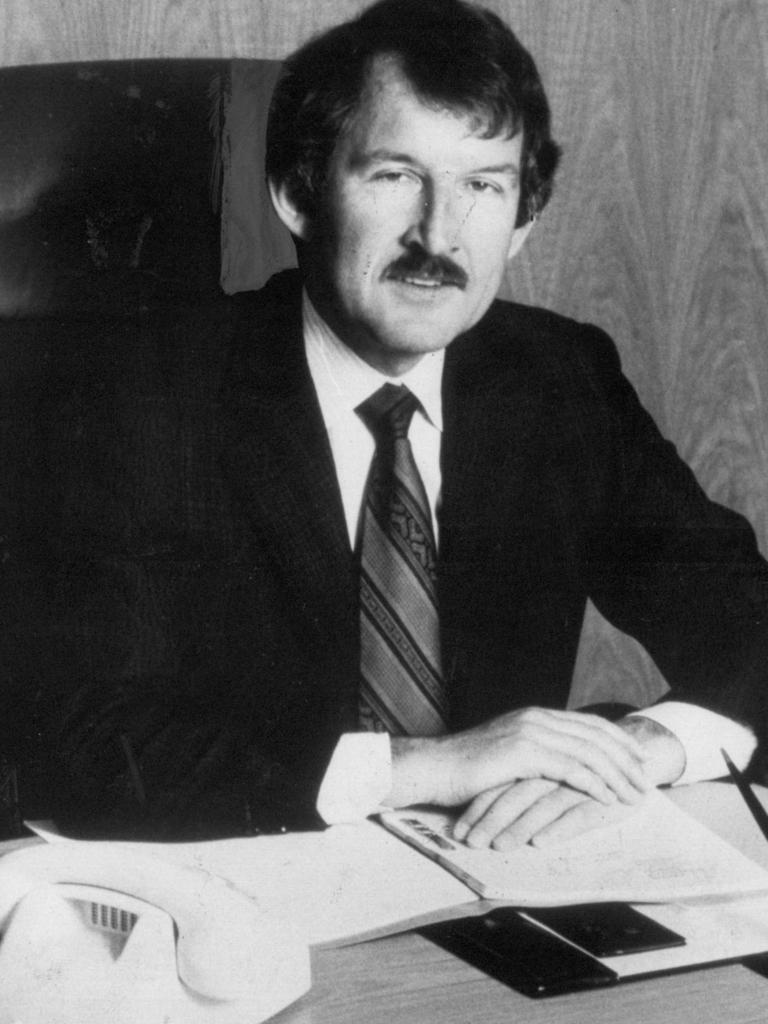 Ron Brierley in his office in the 1980s.