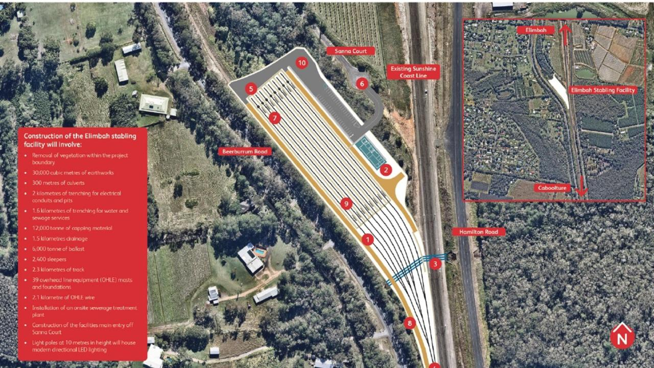 Queensland Rail Elimbah Stabling Yard facility drawings. Farmers directly opposite from '9' have a compensation claim with QR.