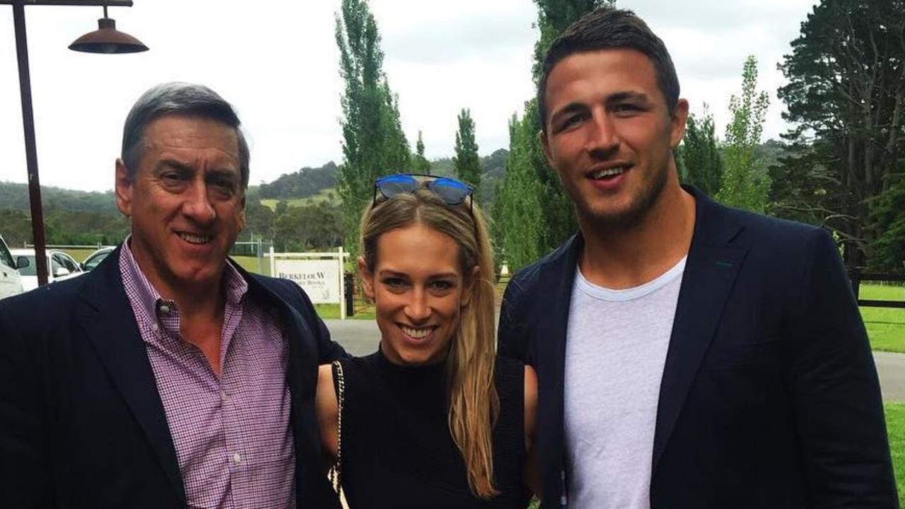 Sam Burgess, right, with wife Phoebe and her father Mitch Hooke.