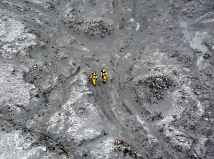 Members of the specialist team during the search for bodies on White Island. Picture: New Zealand Defence Force via Getty Images