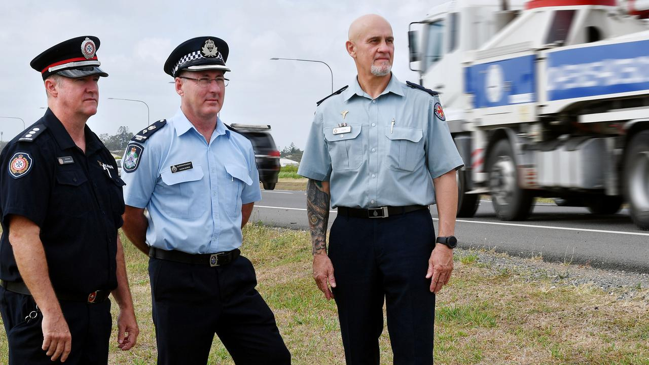 QFES Acting Inspector Patrick McGuire, QPS Superintendent Glenn Morris and QAS Acting Manager of Operations Shane Tucker. Picture: Tony Martin