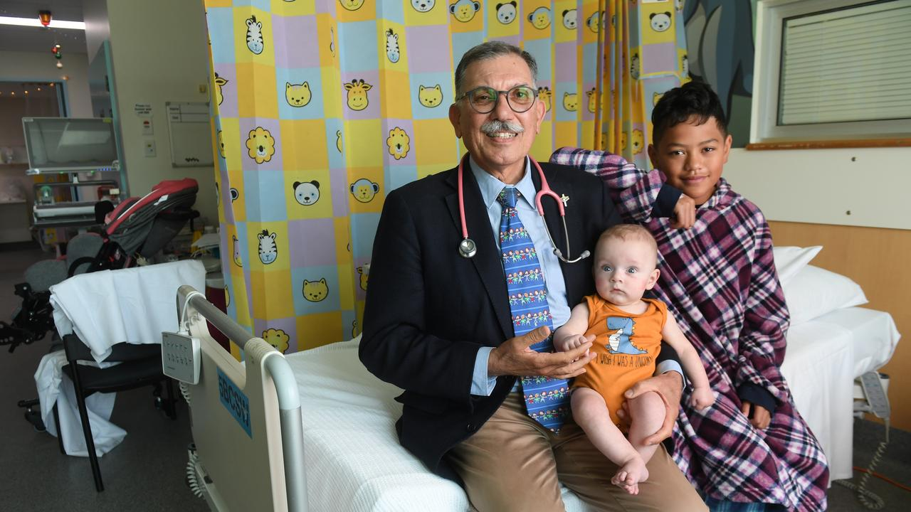 Dr John Gavranich is retiring. With patients Jaxxyon Demaineuk and Ethan Rio.