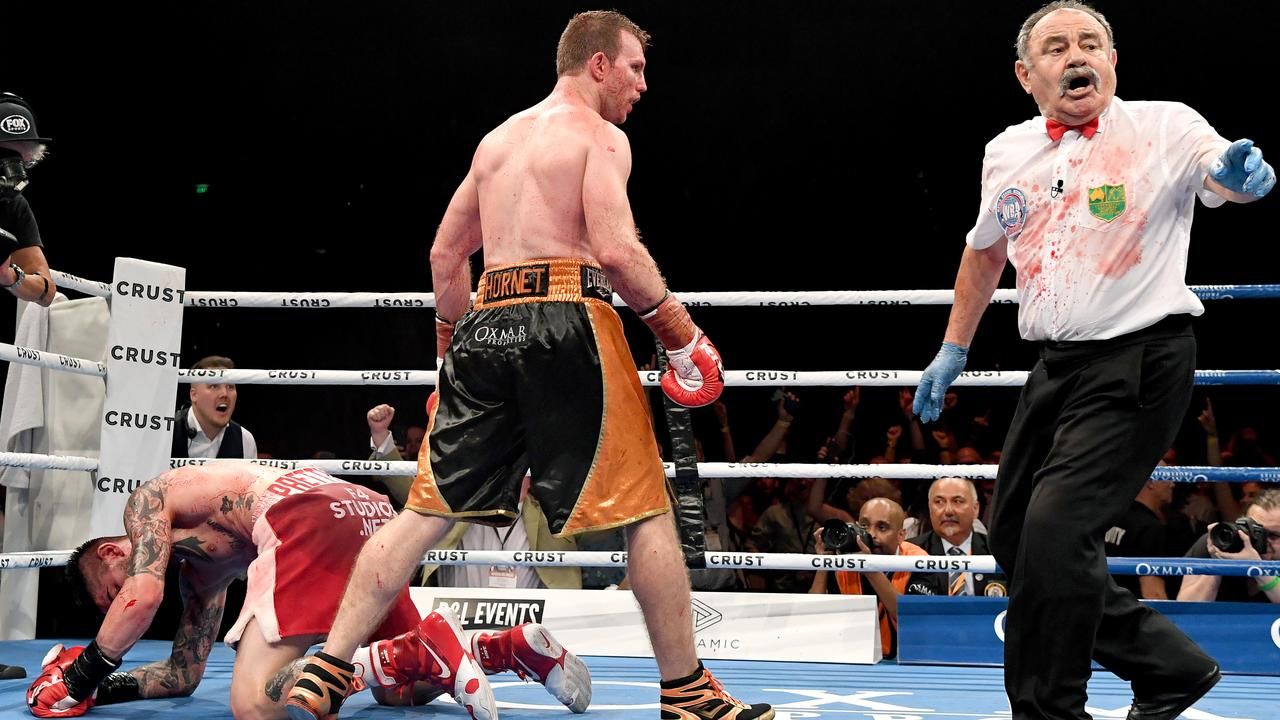There was no quarter given in this bout. Photo: Bradley Kanaris/Getty Images