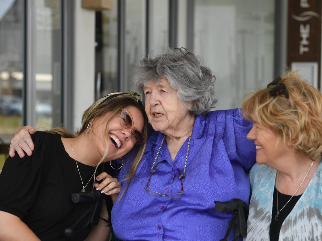 Cathy Henkel with her mother Laura and daughter Sam Lara. Laura Henkel is now in Switzerland to fulfil her wish to die on her own terms.