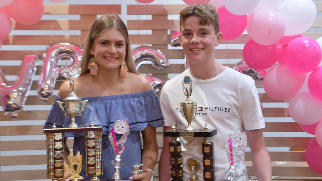 STAR DUO: Gymnast Grace Humphries and trampolinist Sam Durkin took home a number of trophies from Victoria Park's annual awards night.