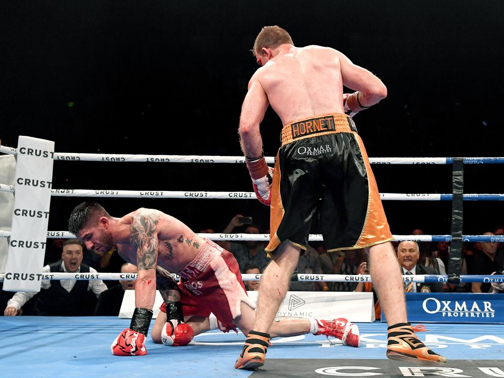 Jeff Horn knocks down Michael Zerafa. (Photo by Bradley Kanaris/Getty Images)