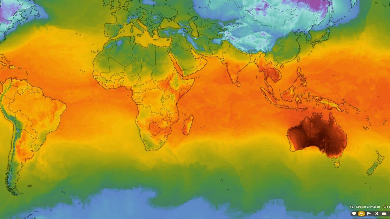 This world temperature map shows Australia, on its own, with scorching temperatures. Picture: Windy.