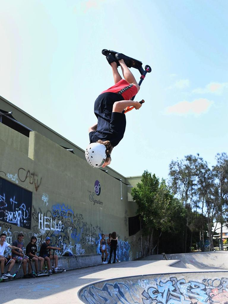 A 15-year-old patron doing a backflip at the controversial Torquay Rd skate park. Photo: Cody Fox