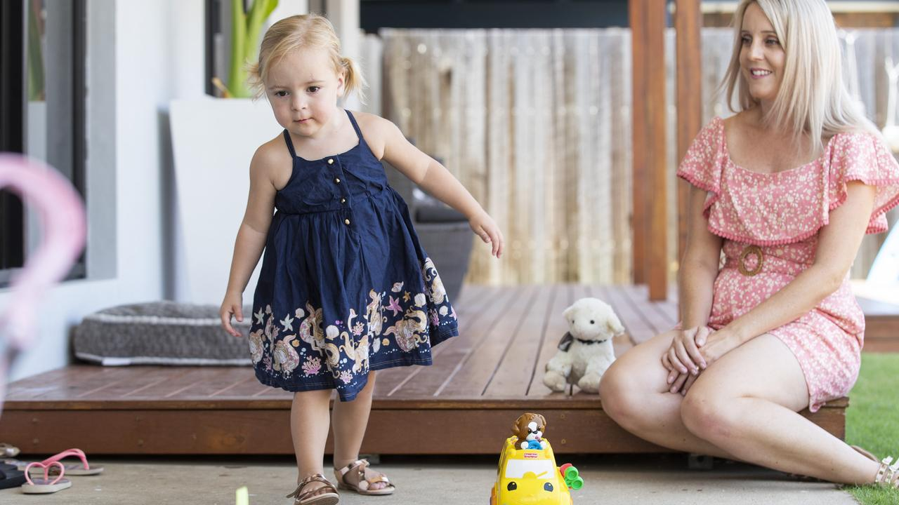 Monique Bennett with daughter Stevie, who required blood transfusions in the womb. Picture: Lachie Millard