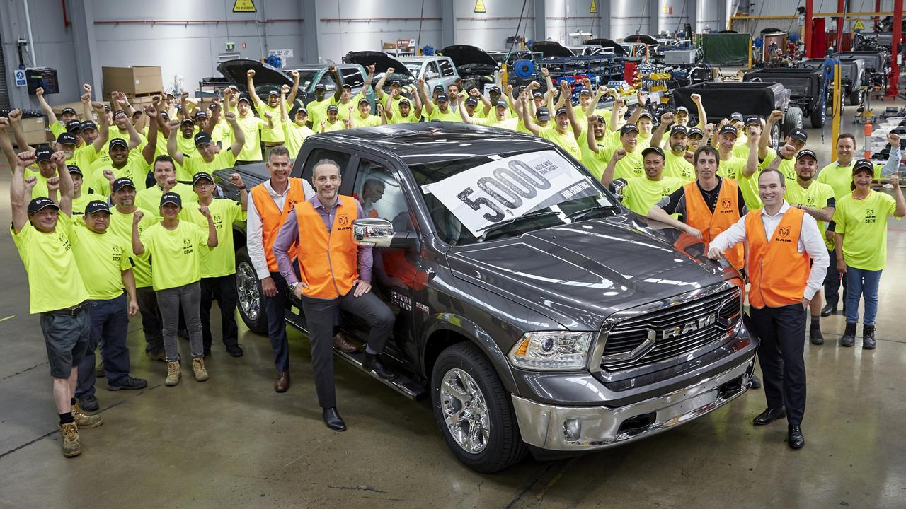 Ram Trucks Australia employees with the 5000th ute remanufactured in Melbourne. Picture: Cameron Murray
