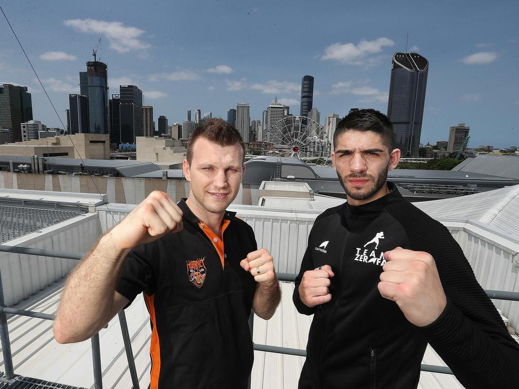 Jeff Horn and Michael Zerafa on the Roof of the Convention centre. Pic Annette Dew. Pic Annette Dew