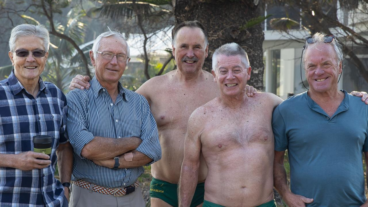 Steve Fortey, Michael Scobie, Lindsay Cunningham and Gary Hore (just back from their swim with the Lizards) and David Benson have led Avoca Beach Community Association's bid for its own Anzac memorial near the surf lifesaving club.