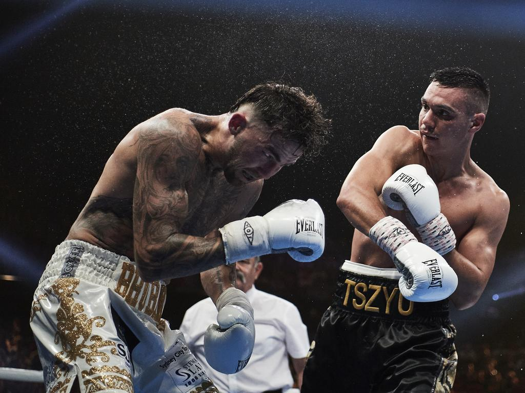 Tim Tszyu slugs Jack Brubaker in Sydney on December 06. (Photo by Brett Hemmings/Getty Images)