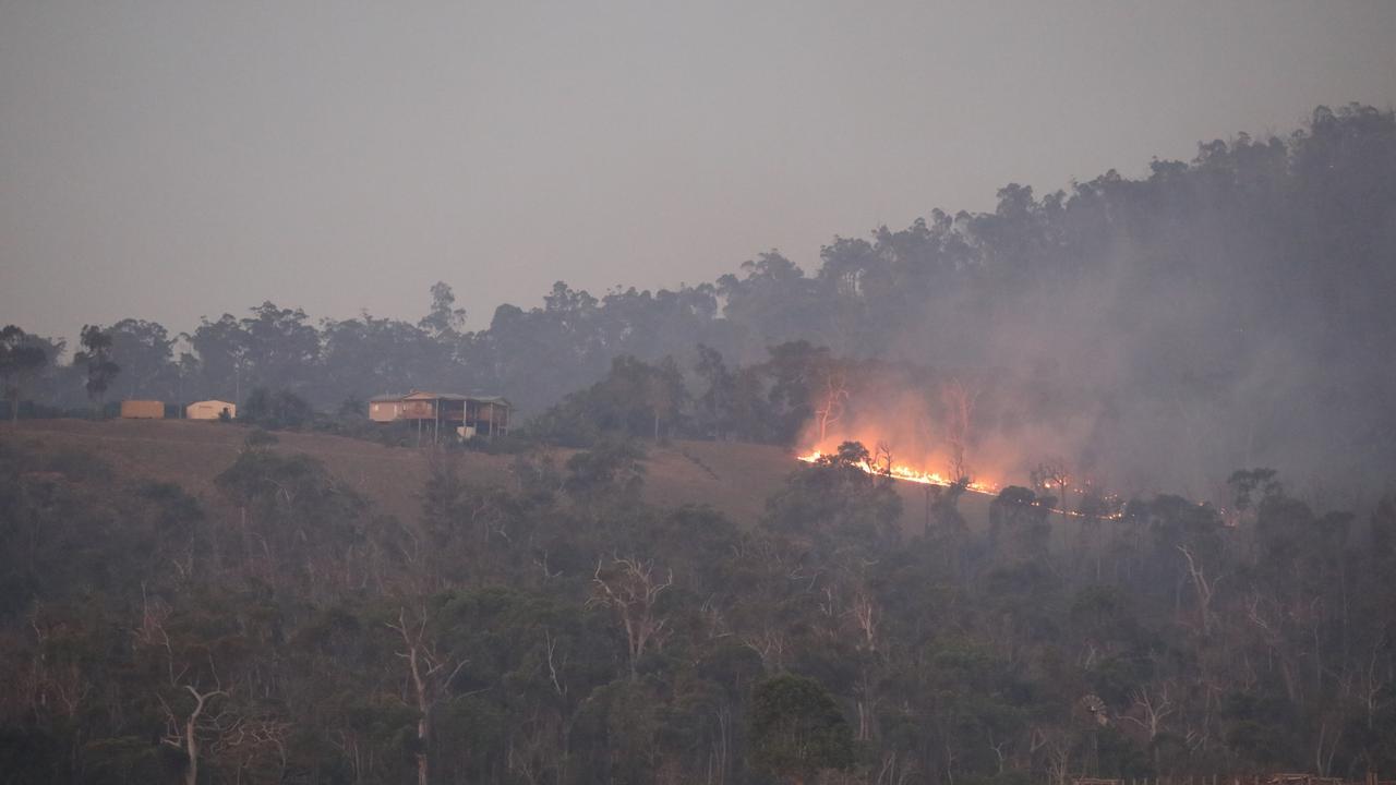 Fire burning near properties at Adelaide Park, near Yeppoon.