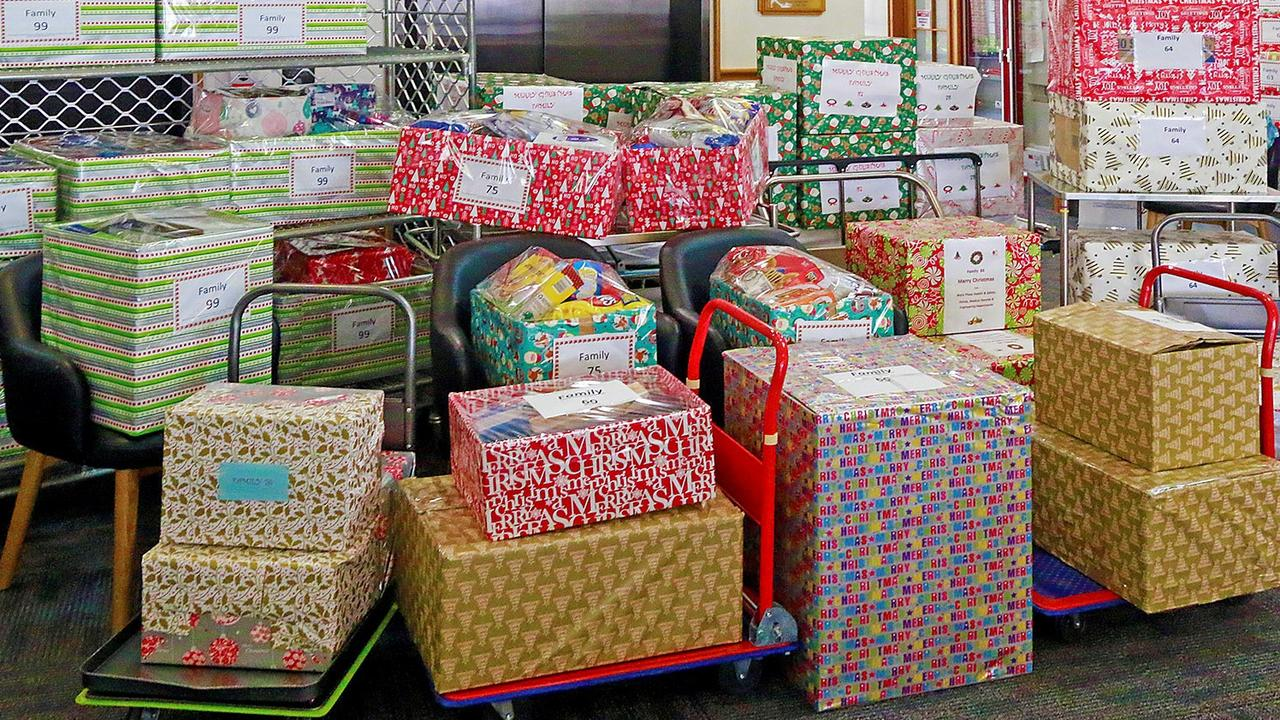 Some of the many many gifts donated by the Mater Rockhampton staff will brighten Christmas for 23 local families adopted through the 2019 'Adopt A Family' Project.