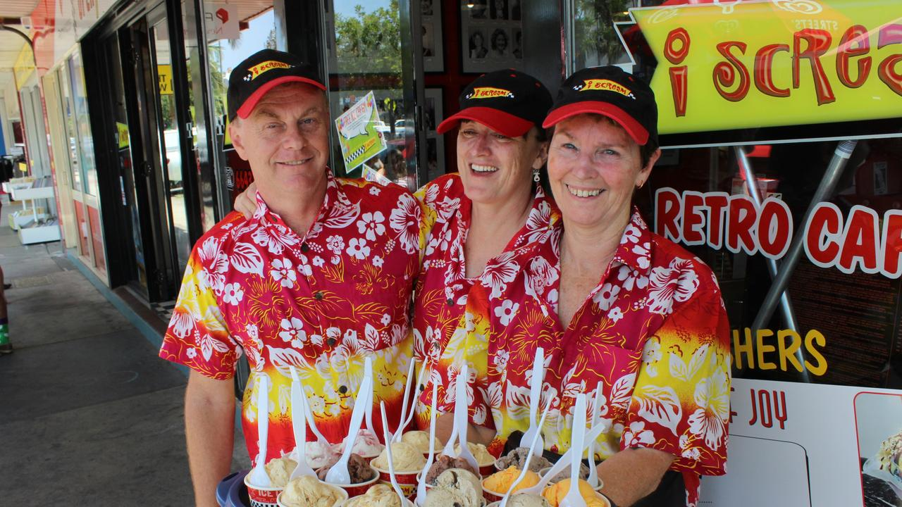 Jeff and Robyn Smith with Karen Graham with a selection of ice creams for local businesses.