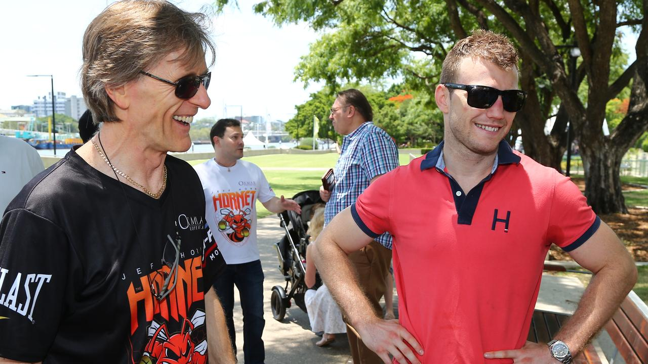 Jeff Horn with trainer Glenn Rushton in Brisbane on Thursday. Picture: AAP