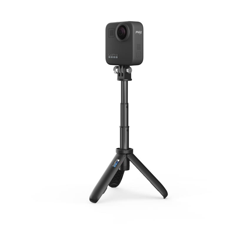 The GoPro Max is a 360-degree action camera with wide-angle lenses on either side of the device.