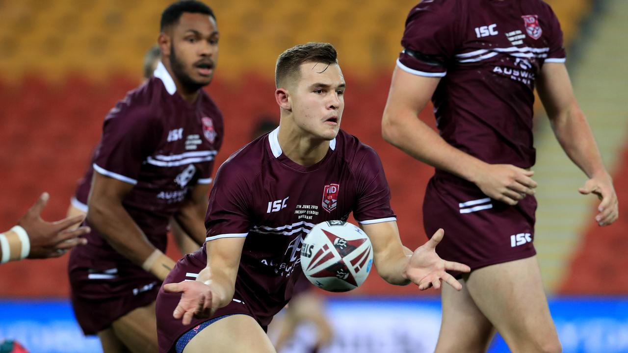 Jake Simpkin fires off a pass for the Queensland under-18s. The Wests Tigers hooker and Toowoomba product has been named in the Queensland Under-20 Emerging Origin squad.