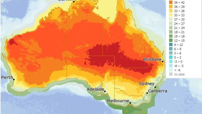 Temperatures are set to soar on Saturday which will be a 'peak' day for bushfire danger. Picture: BOM.