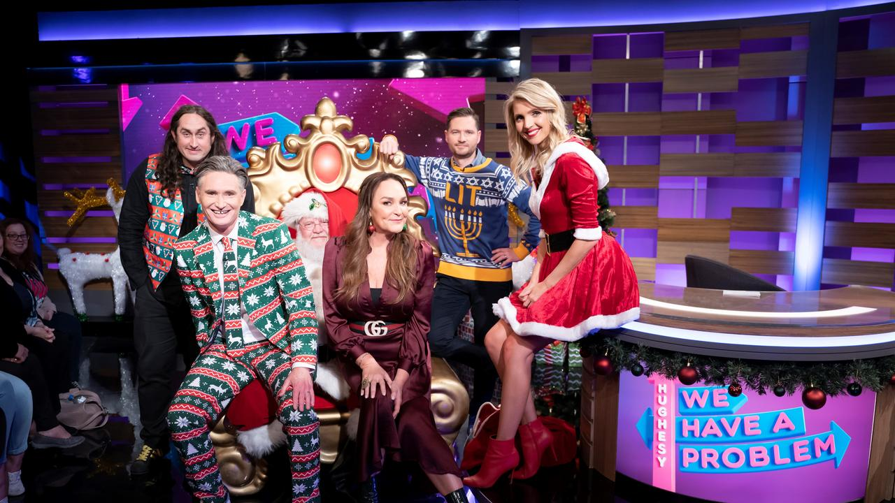 Ross Noble, Dave Hughes, Kate Langbroek, Charlie Pickering and Nikki Osborne return in a Christmas edition of Hughesy, We Have A Problem. Supplied by Channel 10.