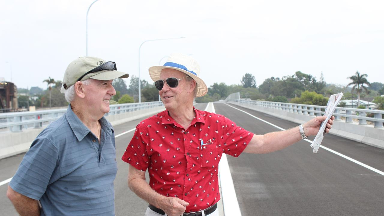Ron Bell and Des Harvey enjoy the sight from the new Grafton Bridge during it's official opening.