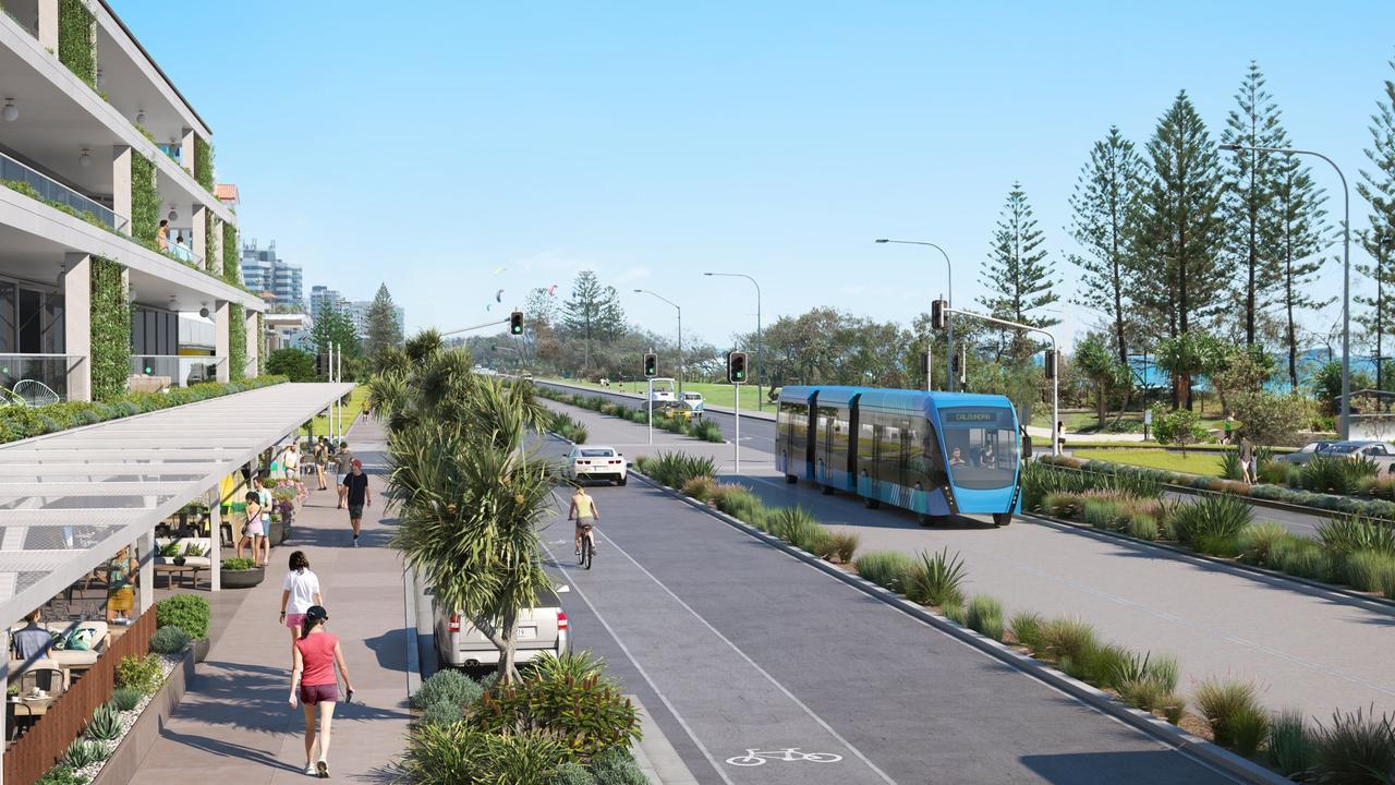 Artist impressions show how a trambus could work through Alexandra Headland.