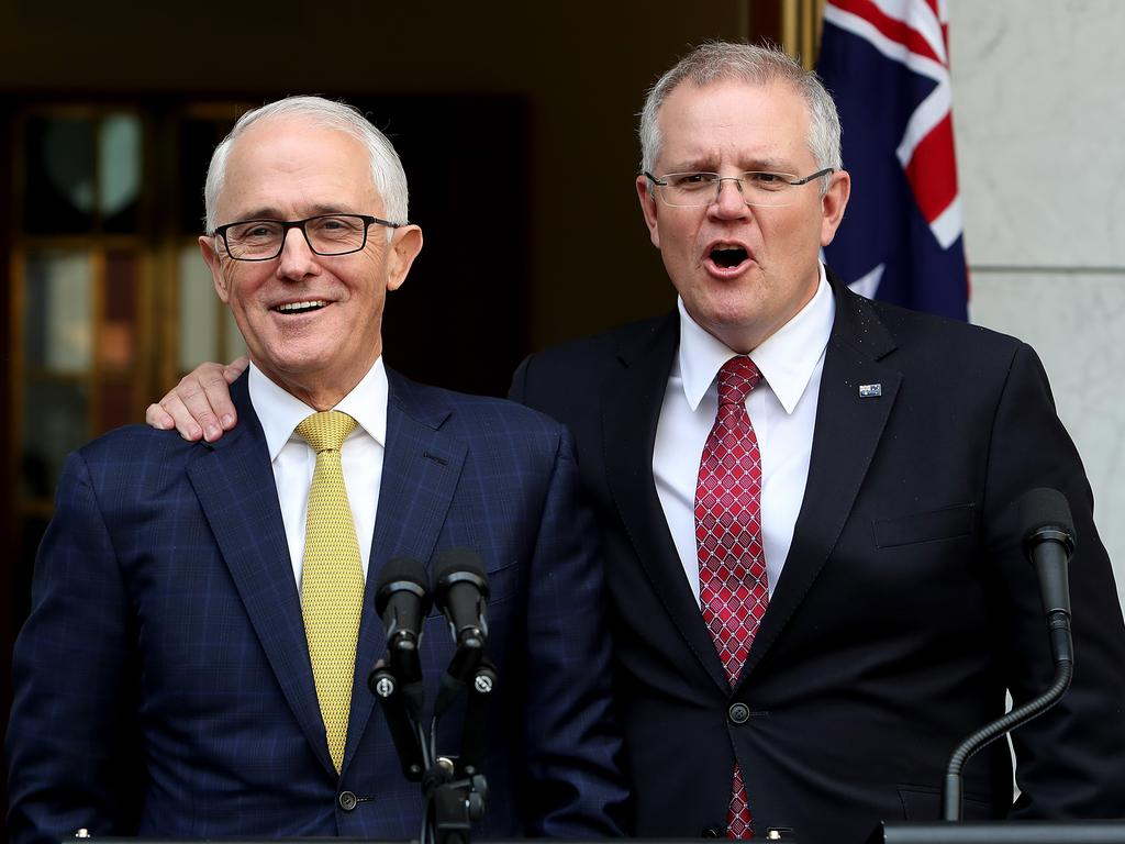 Then treasurer Scott Morrison pledging his allegiance to then Prime Minister Malcolm Turnbull at a press conference. Within days Morrison would be in the top job himself. Picture: Kym Smith