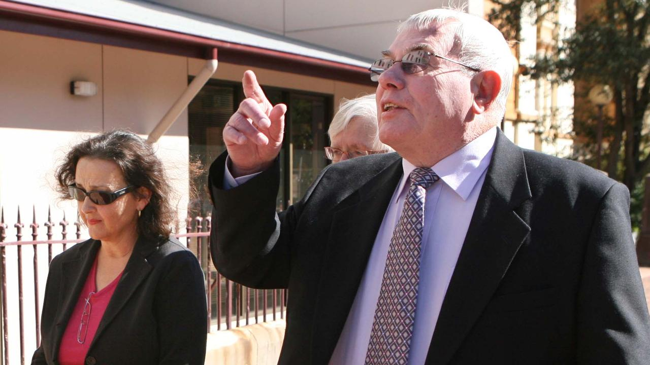Milton's daughter Sophie Orkopoulos with former Swansea MP Don Bowman after the ex NSW minister's sentencing in Newcastle.