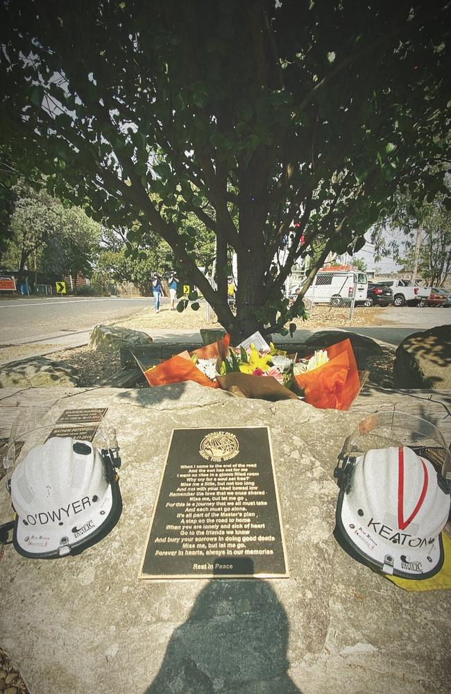 A memorial to volunteer firefighters Geoffrey Keaton, 32, and Andrew O'Dwyer, 36. Picture: Horsley Park Rural Fire Brigade