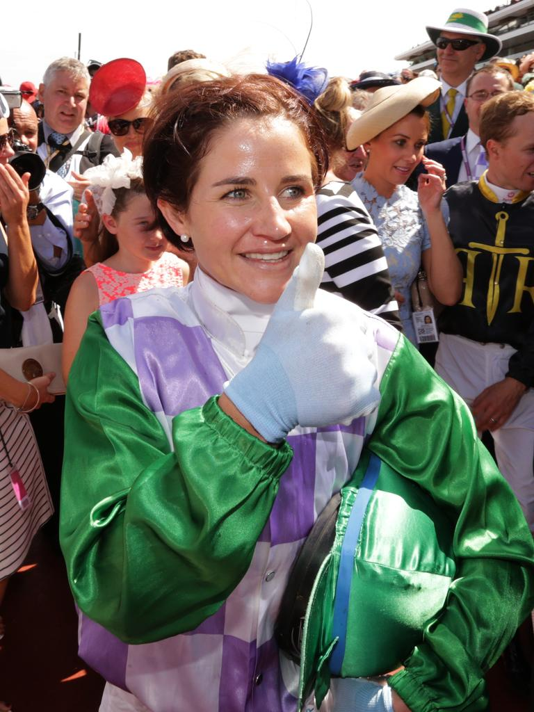 Jockey Michelle Payne after she rode Prince of Penzance to a win at the 2015 Melbourne Cup.