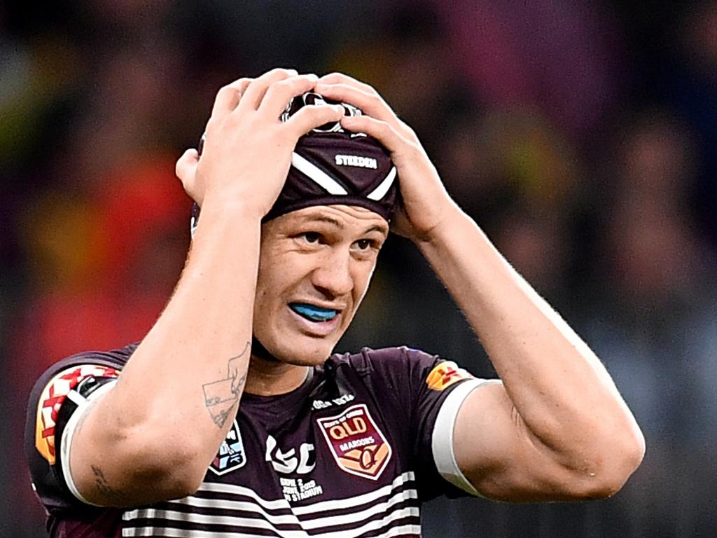 Kalyn Ponga of the Maroons is seen reacting during Game 2 of the 2019 State of Origin series.
