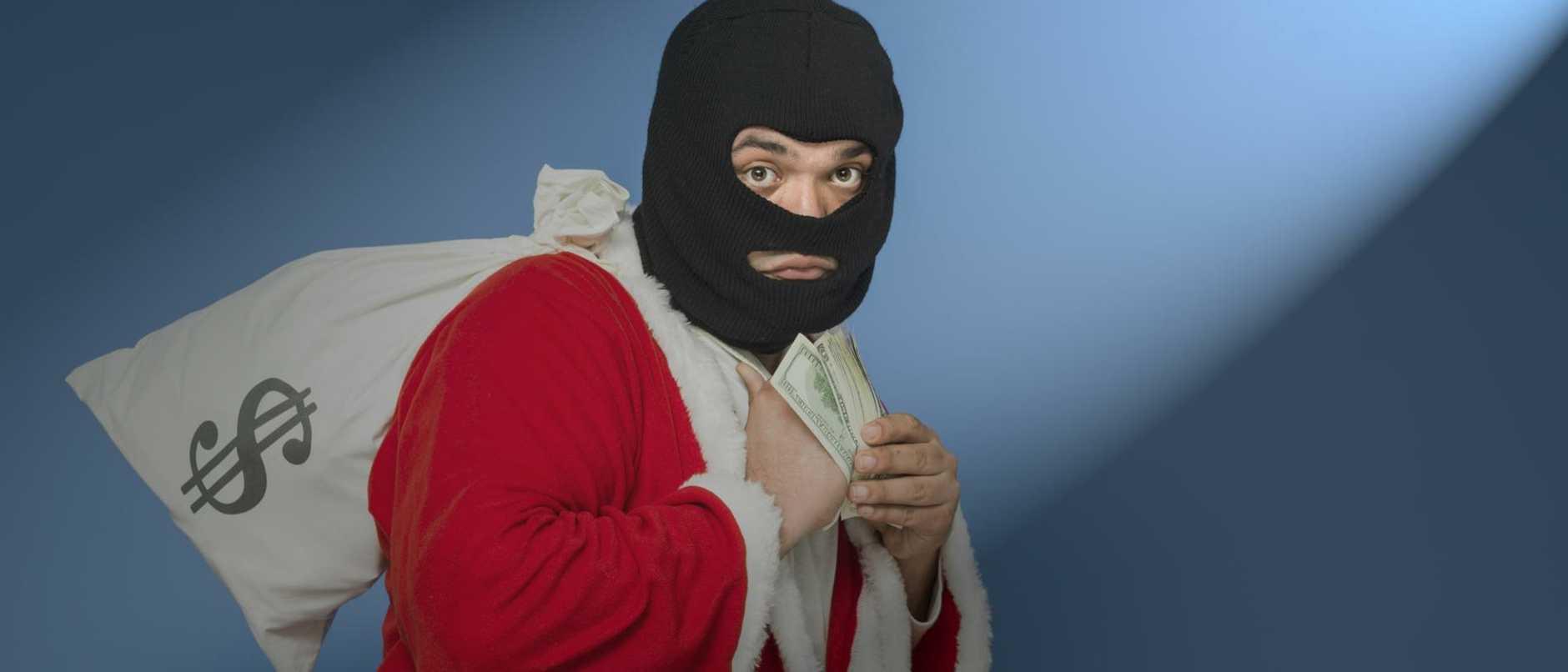 Man Wearing St Nicholas Costume And Mask Stealing Money Bag