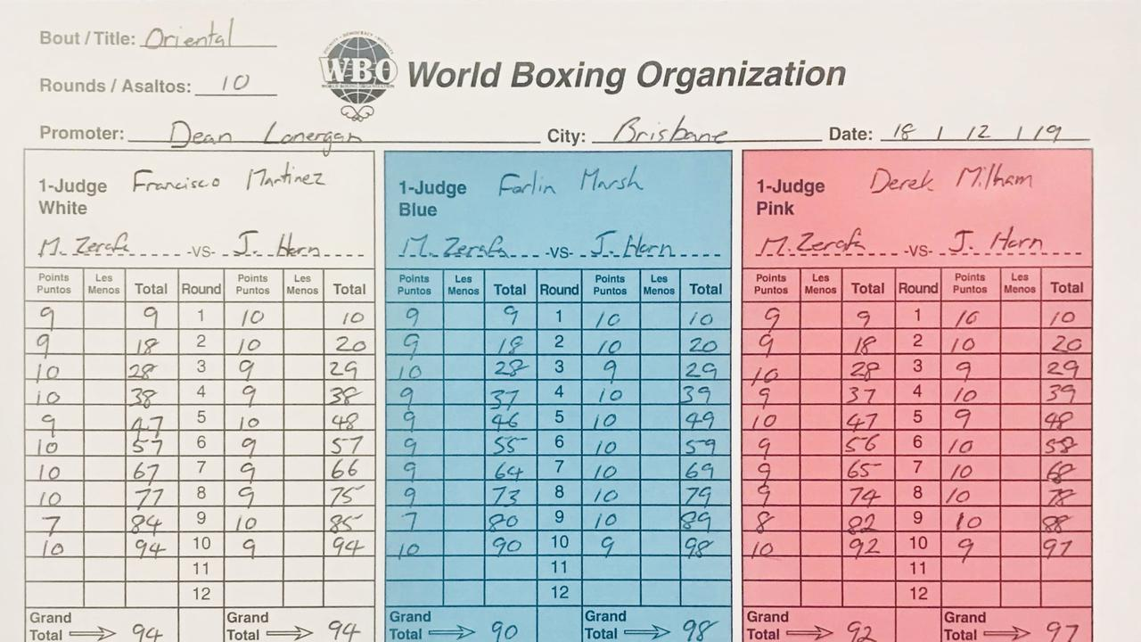 The judges' scorecards from Wednesday night's bout between Jeff Horn and Michael Zerafa.