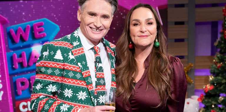 Dave Hughes and Kate Langbroek return in a Christmas edition of Hughesy, We Have A Problem. Supplied by Channel 10.