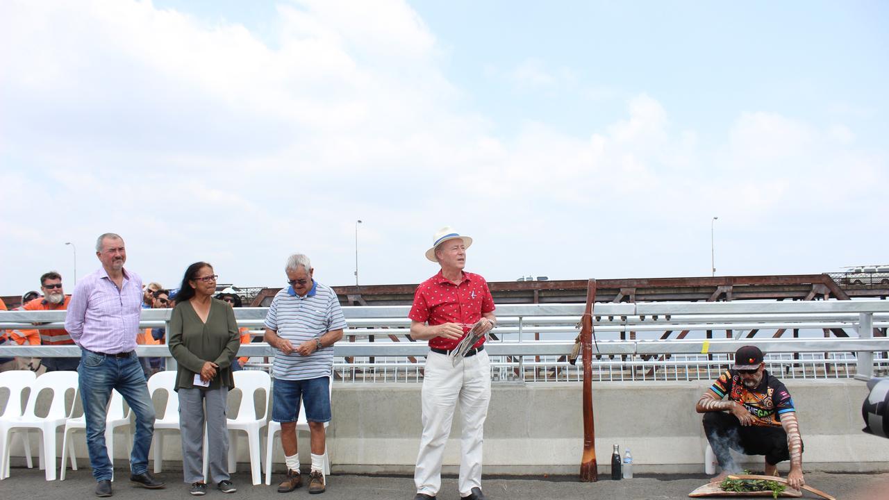 Des Harvey makes a speech at the new Grafton bridge opening on 12/12/19.