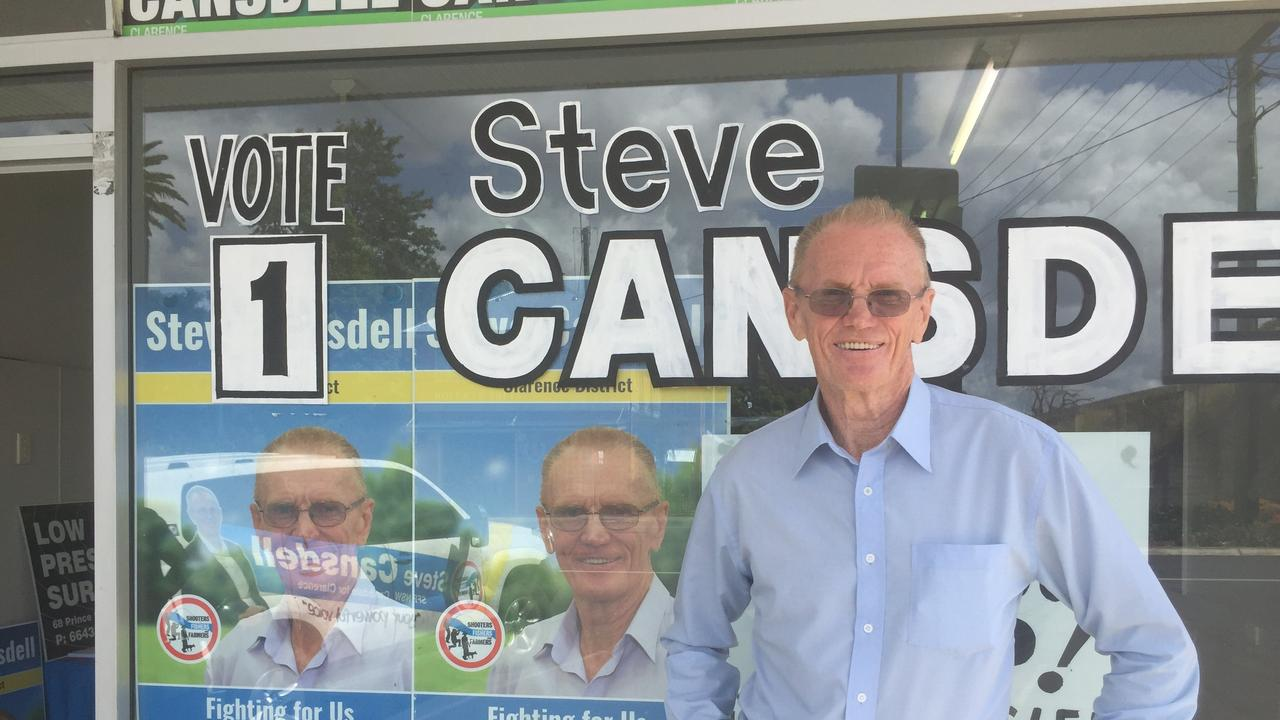 GRAND OPENING: Steve Cansdell outside his new campaign office in Prince St, Grafton.
