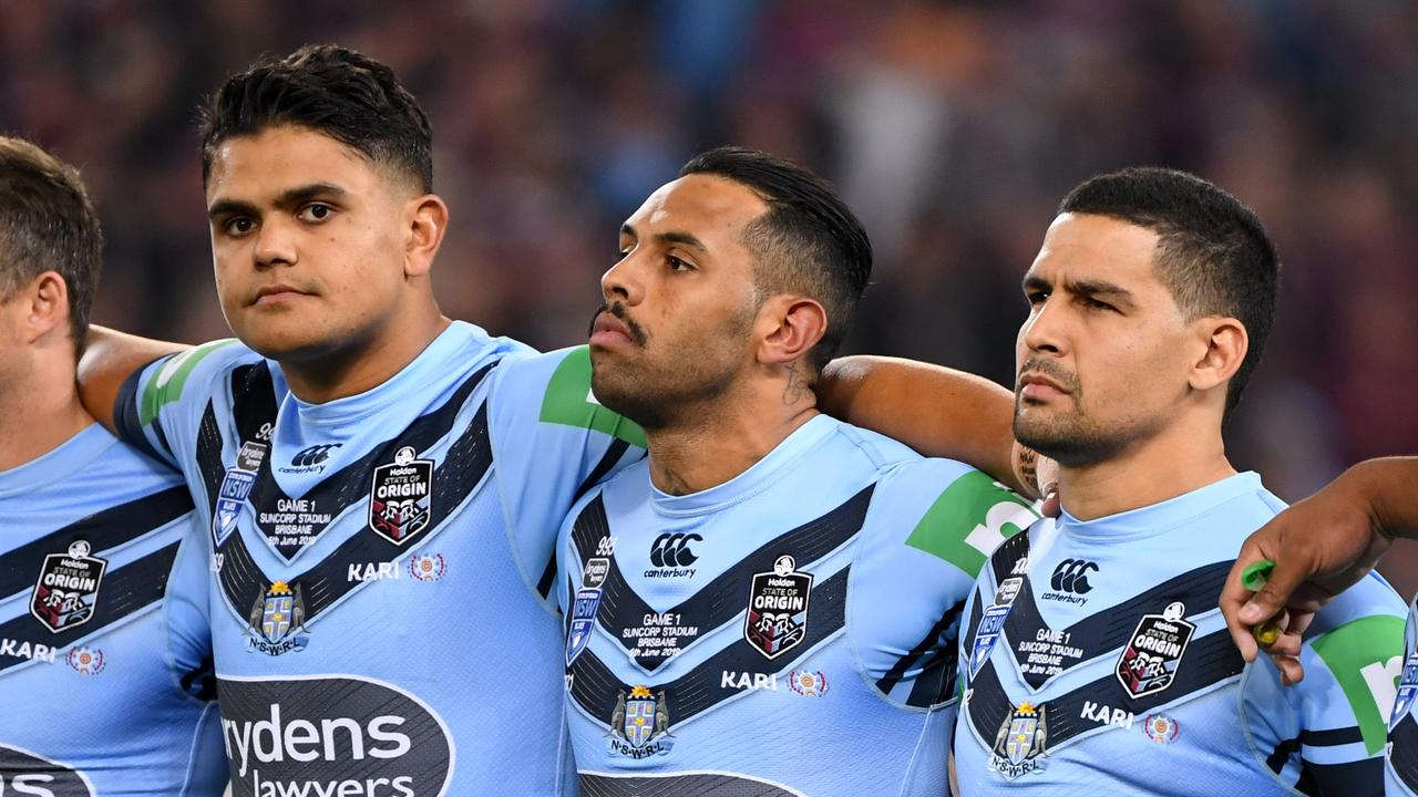 Several Blues players did not sing the anthem before State of Origin matches this year. Picture: Dave Hunt/AAP