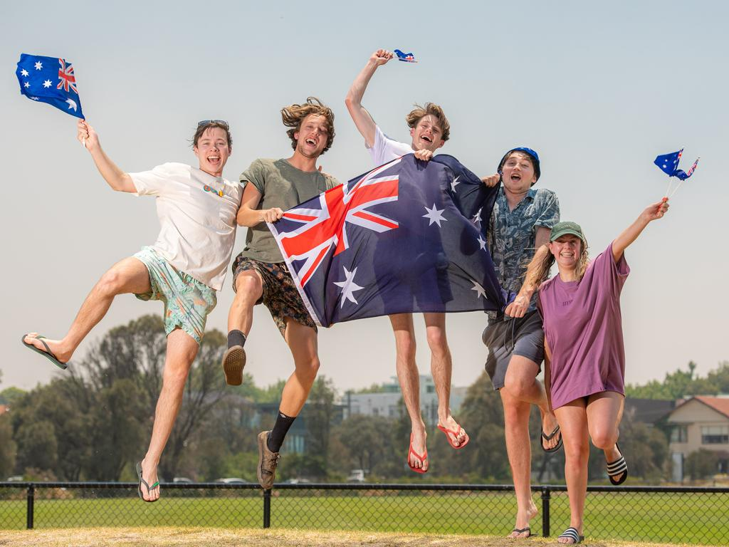 Aussie Aussie Aussie … Fraser Gillies, Benedict O'Shea, Sean Peacock, Steph Duncan and Callum O'Shannessy feel the pride at Melbourne's Elwood Oval. Picture: Jason Edwards