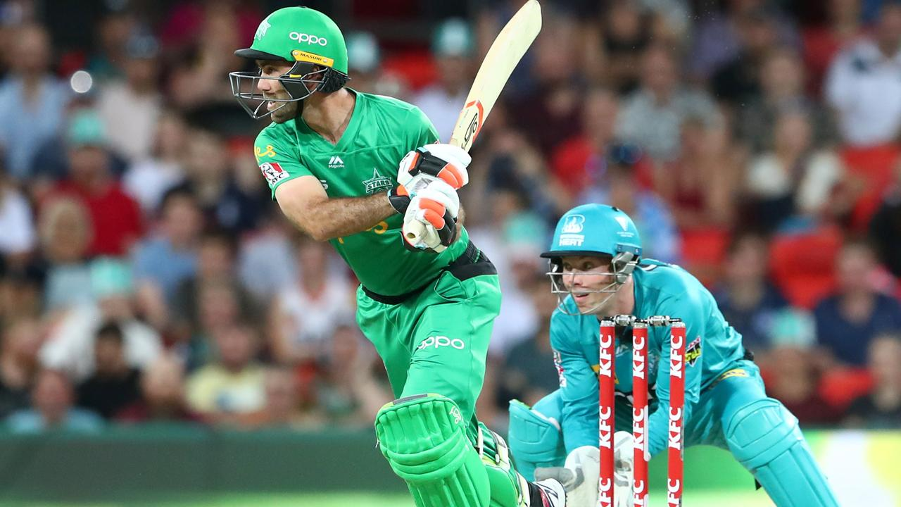 Glenn Maxwell hits out for the Stars in their clash against the Brisbane Heat on Friday night  on the Gold Coast. Picture: Chris Hyde/Getty Images