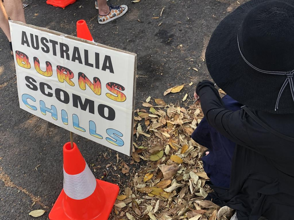 Hundreds pitch tents outside Scott Morrison's house demanding a response to the climate crisis. Picture: Clarissa Bye