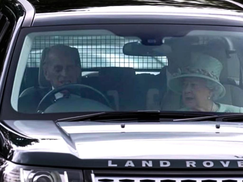 Prince Philip driving Queen Elizabeth in his Land Rover in 2017. Picture: Supplied