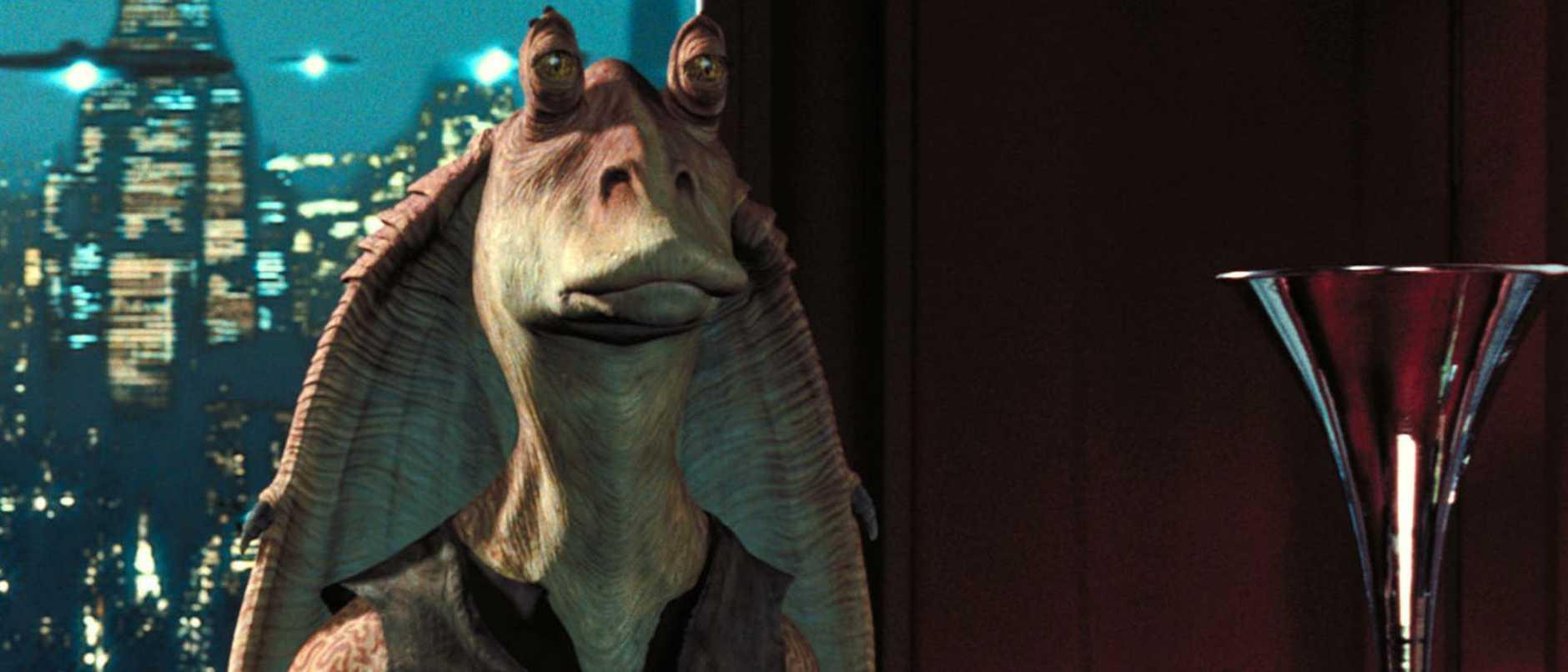 Jar Jar Binks character in scene from Star Wars film