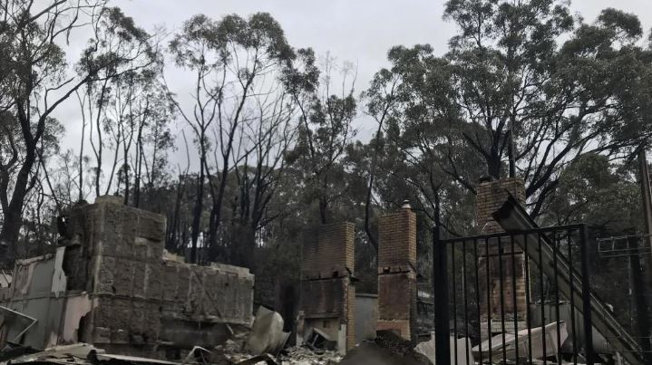 A building destroyed by fire on Cudlee Creek Rd, Cudlee Creek in the Adelaide Hills, Adelaide. Picture: AAP